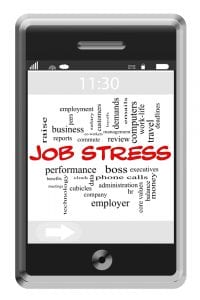Job Stress Word Cloud Concept on Touchscreen Phone