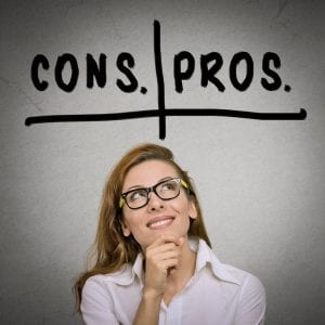 pros and cons, for and against argument concept