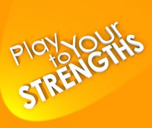 Play to Your Strengths Competitive Advantage 3d Words Background