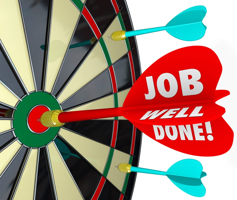 Job well done - your performance hit the bullseye